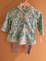 CARTER'S 2PC BABYGIRLS AQUA FLEECE TOP W/ KNIT GRAY PANTS SIZES:  9M & 12M. NWT