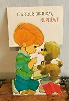 Vtg 1970s 1974 American Greetings Card Nephew Birthday Little Boy Kid Dog Puppy