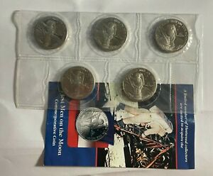 1989 $5 MARSHALL ISLANDS MAN ON THE MOON 1969 COIN LOT OF 5 IN ORIGINAL PLASTIC