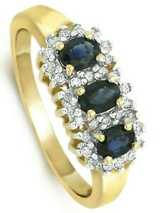 Sapphire and Diamond Ring Engagement Three Stone Trilogy Yellow Gold Certificate