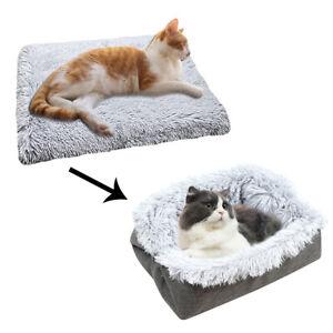 LN_ 2 in 1 Foldable Plush Cat Kitten House Puppy Sleeping Warm Bed Cushion Car
