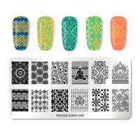 NICOLE DIARY Nagel Schablone Buddhism Temple Nail Art Stamp Image Template 045