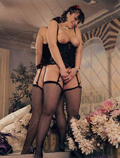 60s Risque Topless Pinup black corset & fishnets at mirror  8 x 10 Photograph
