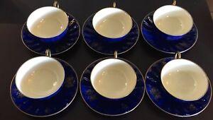 K.P.Z. Gouda High Glaze Size Tea Cups & Saucers - Cobalt & Gold