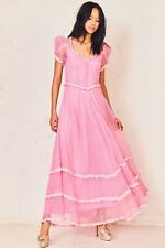 LOVESHACKFANCY NWT Odessa Pink Circle Eyelet Embroidered Lace Maxi Dress 6
