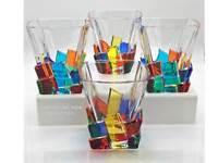 """CAPRI"" WHISKEY / OLD FASHIONED GLASSES - SET/4 - HAND PAINTED VENETIAN GLASS"
