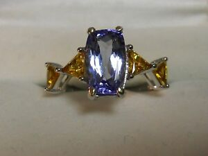 womens  tanzanite  3..24 carats .citrine accents  10k  .gold size 8 gil cert