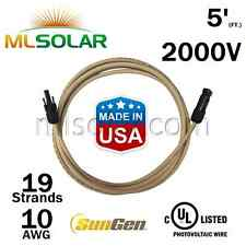 5FT SunGen Solar Panel Extension Cable 10AWG PV Wire M/F MC4 Connector UL 2000V