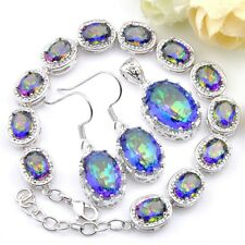 Sparking Fire Colored Mystic Topaz Silver Chain Bracelets Necklace Earrings Sets