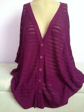 NWT Cardigan Sweater. August Silk 1X Purple V-Neck Button Down. MSRP: $78