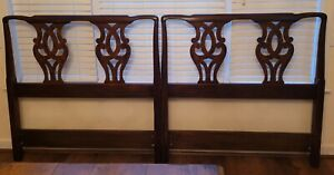 Pair Vintage Henkle Harris Mahogany Chippendale Twin Headboards Free shipping!