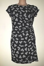 PHASE EIGHT BLACK WHITE FAUX WRAP SIDE RUCHED STRETCHY JERSEY DRESS 14