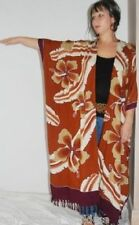 Brown kimono duster batik fringe M L 1X 2X 3X 4X ZH861