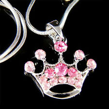 w Swarovski Crystal ~Pink Princess CROWN QUEEN hat Pendant Necklace Xmas Jewelry