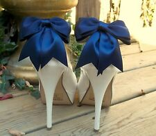 Shoe Clips Navy Blue Satin Double Bows set of 2 bridal wedding womens women NEW