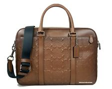 Coach F24860 Perry Slim Brief in Signature Leather Nickel Saddle Burnished