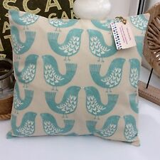 CUSHION COVER DUCK EGG BLUE COTTON NORDIC BIRD TEAL TAUPE SCANDI BIRDS RETRO BMn