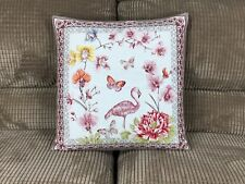 Pillow Cover Jacquard  Woven Flamingo Garden Ecru/Pink  Made In France 18X18