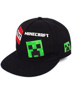 Minecraft Cap Boys Kids Green Black One Size Creeper Snapback Hat One size