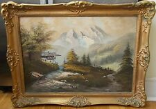 VINTAGE OIL PAINTING GERMAN MOUNTAIN BAVARIA CHALET SIGNED LANDSCAPE CANVAS NICE