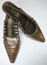 Talbots Shoes Heels Brown Croc Slingbacks Cutouts Womens Size 8 1/2 M Spain