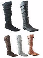 LADIES WOMENS SUEDE KNEE BOOTS LOW FLAT HEEL PULL ON PIRATE STYLE SHOES SIZE
