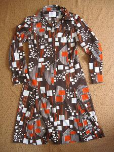 Robe Edialeda Vintage Marron Pop Motif Femme Années 80 Ancien dress - 44