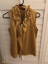 NWT Elie Tahari Pencey Silk Ruffle Sleeveless Blouse Mustard Midas Gold Small