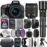 Nikon D5600 DSLR Camera + Nikon 18-55mm VR Lens + 500mm Telephoto Lens -32GB Kit