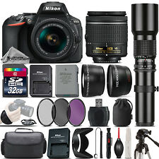 Nikon D5600 DSLR Camera + Nikon 18-55mm VR Lens + 500mm Telephoto Lens -32GB Kit