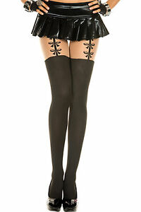 New Opaque Pantyhose with Bow Suspenders Music Legs 7118