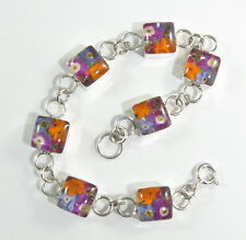 """925 sterling silver bracelet with square shape and real flowers 6"""" long"""