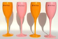 Veuve Clicquot Pink Rose And Yellow Label Acrylic Champagne Flutes 4 Total New