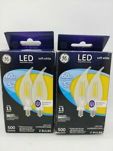 GE LED 60Watt LED CAC Chandelier Light Bulb (4 Total) Soft White Clear Bulb 13 Y