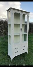 Shabby Chic Display Cabinet - French country Two Door Glass Display Cabinet