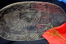 VTG Norway Magnor Glass Dish Crayfish Seafood Lobster Plate Oval Platter Serving