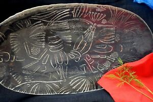 VTG Norway Magnor Glass Dish Crayfish Seafood Lobster Plate Oval Platter Serving
