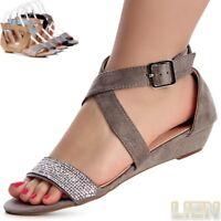 Damenschuhe Riemchen Sandalen Velours Sandaletten Keilabsatz Glitzer