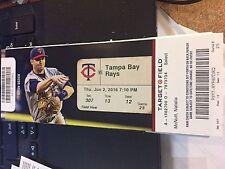 2016 MINNESOTA TWINS VS TAMPA BAY RAYS TICKET STUB 6/2 TAYLOR ROGERS WIN #1