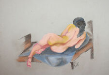 Nude Female back portrait pastel painting signed