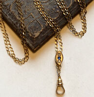 """Blue Sapphire and Diamond paste chatelaine Necklace. 48"""" gold fill Slider."""