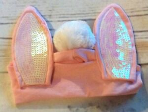 Claire's Bunny Ears & Cotton Tail Headwrap-Pink & White Sequins Age 3+ NEW