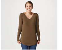 Belle by Kim Gravel Feather Knit V-Neck Sweater w/ Smile Hem Birch Green Small