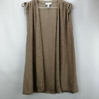 Susan Graver Linen Cotton Open Front Sweater Vest Dark Stone XS A352225