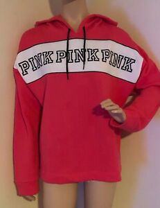New PINK Victoria's Secret Sweatshirt Hoodie Coral Logo size Large L $55 NWT