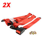 2X For Chevy Car Vehicle 3 Point Adjustable Red Safety Seat Belt Car Universal