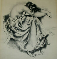 Antique Female Nude Classical Woman Etching Print Art Signed Illegible 1800s
