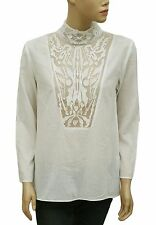 148895 New Bimba Y Lola Mesh Patchwork Cotton White Sheer Blouse Top Small S