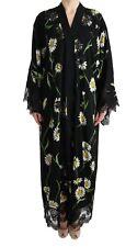 DOLCE & GABBANA Dress Cape Black White Floral Lace Kaftan IT40 / US6