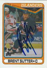 BRENT SUTTER Autographed Signed 1990-91 Topps card New York Islanders COA